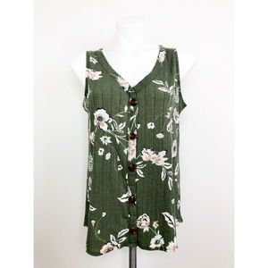 💜Maurices Green Floral V Neck Button Tank